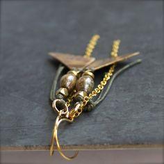 Tribal Stamped Brass Dangle Drop Earrings Rustic Brown by balanced, $44.00