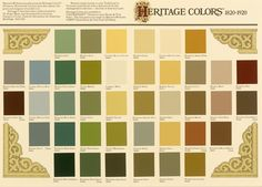 Historically inspired paint color palette from Heritage Colors collection by Sherwin-Williams.