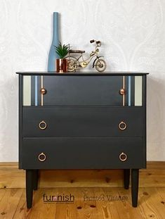 Small Mid Century Retro Chest Of Drawers Or Bedside Cabinet In Dark Grey Bedroom Chest Of Drawers, Small Chest Of Drawers, Bedside Cabinet, Dresser As Nightstand, Striped Dresser, Hand Painted Dressers, Copper Handles, Paint Stripes, Kids Bedroom