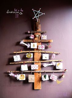 Christmas Tree from Sticks and DIY // Advent Calendar / Julkalender / Adventskalender Wall Christmas Tree, Christmas Calendar, Noel Christmas, All Things Christmas, Christmas Decorations, Xmas Tree, Advent Calenders, Diy Advent Calendar, Holiday Crafts