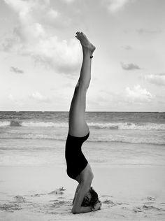 Yoga goals + headstand + beach yoga + yoga inspiration