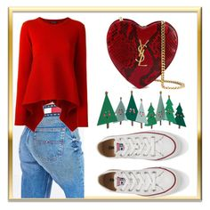 """#christmasoutfit"" by chloepop on Polyvore featuring Tommy Hilfiger, Alexander McQueen, Converse, Yves Saint Laurent, Meri Meri, Christmas, outfit, converse and TommyJeans"