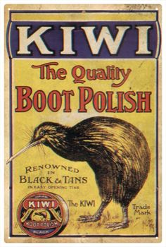 Kiwi Boot Polish Vintage TIN Sign  