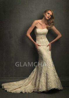 Embroidery Mermaid Champagne Sleeveless Chapel Train Buttons Curved Dresses