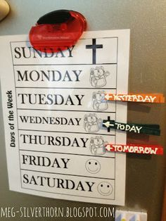 Use this fun system to help your child learn his days of the week and understand the concept of today, tomorrow, and yesterday.