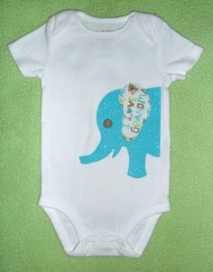 """Sparkly Soft Elephant Baby Onesie for Boy/ Girl using """"I Love Grandma"""", """"I Love Daddy"""", """"I Love Mommy"""" Fabric Applique...CHOOSE your FABRIC"""