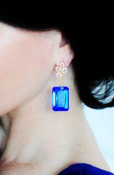 Beautiful Blue Topaz Emerald Cut Earrings www.renate-exclusive.com