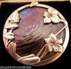 PAT CHENEY JOHN DITCHFIELD GLASS SILVER ART NOUVEAU BROOCH 1980's