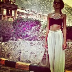 Look, summer casual- LOVE the haram pants and crop top with oversized necklace