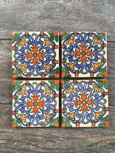Orange Blue And Green Mexican Tile Coasters