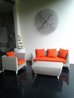 Almunium frame.. Rattan synthetic wicker Kubu grey  Cushion & pillow sweet orange