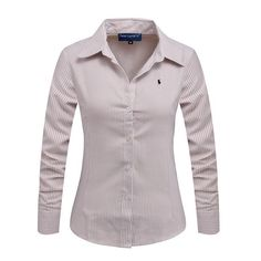 2016 New Women Long Sleeve Pure Color Striped Blouses Turn Down Collar Casual High Street Woman Fashion Shirts Blusas Feminino