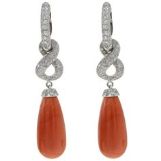 Luise Coral Diamond Gold Dangle Earrings | From a unique collection of vintage dangle earrings at https://www.1stdibs.com/jewelry/earrings/dangle-earrings/