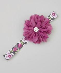 Purple Rhinestone Flower Headband by Charlotte Rose Couture #zulily #zulilyfinds