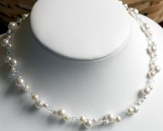 Cluster Pearl Bridal Necklace Pearl Wedding Jewelry by kymjewelry, $48.00