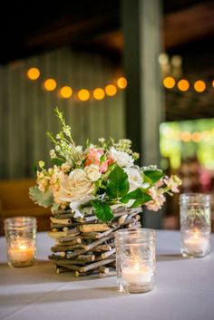 Driftwood and Natural wood elements are the perfect contrast for feminine flowers and this stick vase is pure rustic romance! Wedding Centerpieces Mason Jars, Flower Centerpieces, Wedding Decorations, Table Decorations, Rustic Wedding Flowers, Chic Wedding, Dream Wedding, Wedding Ideas, Driftwood Centerpiece