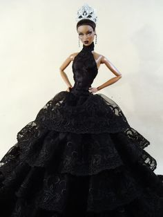 Black Evening Clothes Dress Outfit Gown Candi Silkstone Barbie Fashion