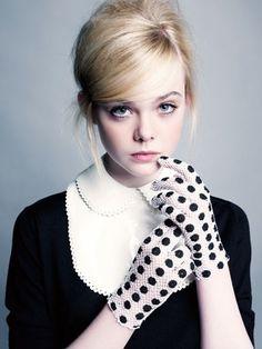 style | black & white polka dot gloves | elle fanning