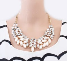 New SBY0227 Fashion chain Chokers chunky big statement pearl necklaces female charms