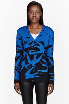MCQ Alexander McQueen | Blue & black knit Swallow Cardigan
