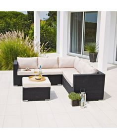 Buy Rattan Effect 5 Seat Patio Furniture Sofa Set with Cushions at Argos.co.uk - Your Online Shop for Garden table and chair sets, Garden furniture, Limited stock Home and garden.