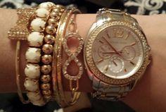 Michael Kors watch and bracelets #bow #infinity #fashion #jewelery