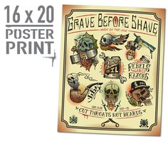 Image of GBS Cut Throats Not Beards Poster Print