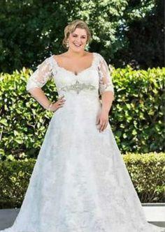 9b2dd7adb2fd3 Half Sleeve Lace Wedding Dress Bridal Gown Custom Plus Size 16 18 20 22 24