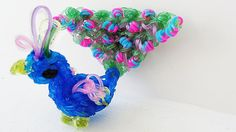 Rainbow Loom Peacock Charm (3D) - How to make with Loom Bands