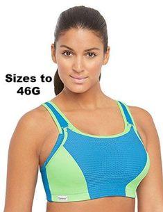 1a7f047cc2a Glamorise Women's Plus Size Full Figure Adjustable Wirefree Sport Bra  #1309, MBL, 38DD
