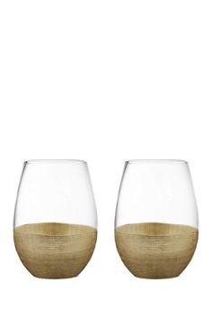 Linen Gold Stemless Goblet - Set of 2