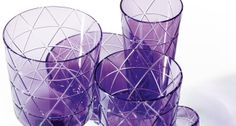 Violet cut crystal glassware from Sieger by Theresienthal | Harlequin London #violet #crystal #glassware #glasses