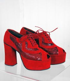 1970's Sexy Ruby-Red Snakeskin & Suede Peep-Toe Platform Shoes