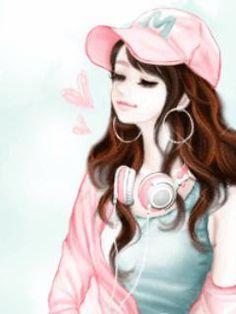 J Enakei Life as Art: Pretty Korean Cartoons Girly M, Cute Cartoon Girl, Anime Girl Cute, Anime Art Girl, Cartoon Girl Images, Cute Cartoon Pictures, Illustration Mignonne, Illustration Girl, Girl Illustrations