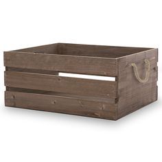 Great Cheap Storage Containers Antique Brown Wooden Crate Storage Box with Rope Handles 15in