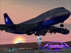 A United Boeing 747 takes of from LAX.