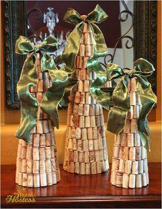 DIY Wine Cork Christmas Tree Topped With Ribbon | The Bubbly Hostess
