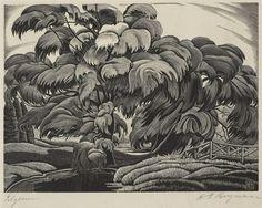 H. Eric Bergman (German/Canadian, 1893-1958). Rhythm. 1935. (wood engraving)