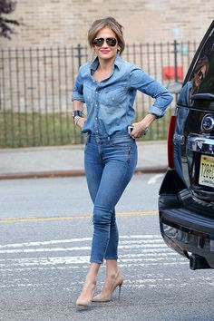Jennifer Lopez Catches Fall's Highly Contagious Denim on Denim Virus