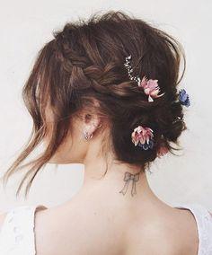 Brown + Long Side Bang + Floral + Brooch + Side Dutch Braid
