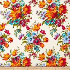 Penny Rose Olivia Large Floral Cream from @fabricdotcom  Designed by Emily Hayes for Penny Rose Fabrics, this cotton print is perfect for quilting, apparel and home decor accents.  Colors include cream, shades of blue, shades of green, shades of red, shades of orange and shades of yellow.