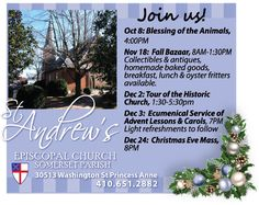 St. Andrew's Episcopal Church in Princess Anne, MD has a lot going on!  Mark your calendars for these other great events coming up!  www.frugals.biz