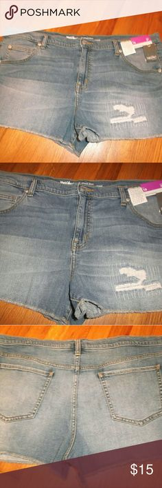 Mossimo Denim Boyfriend Jean Shorts Womens 18/ 34 New with tags!   Cute shorts by Mossimo Denim.   98 % cotton,  2 % spandex denim fabric.   Distressed style   Measures 21.5 inches across the waist in front with a 3 inch inseam.  Please, no offers except with bundles Mossimo  Shorts Jean Shorts