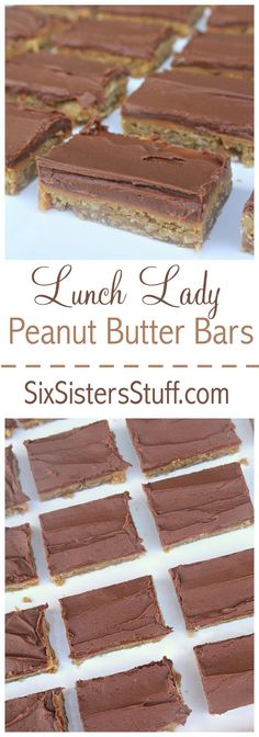 Lunch Lady Peanut Butter Bars on SixSistersStuff.com - just like what they used to serve in the school cafeteria!