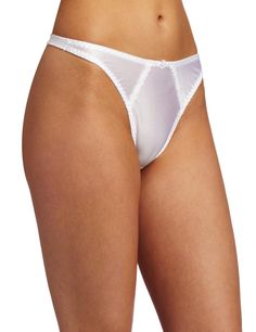 Carnival Womens Satin Thong Panty, White, Large at Amazon Women's Clothing store: Thong Underwear