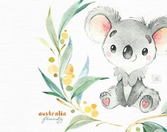 Australian Friends. Little animals clipart watercolor | Etsy Cartoon Sketches, Animal Sketches, Animal Drawings, Cute Drawings, Baby Painting, Painting & Drawing, Australian Nursery, Baby Animals Super Cute, Tasmanian Devil