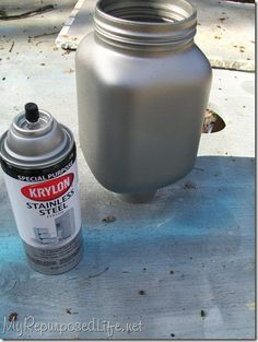 Upcycle old jars by painting them with stainless steel paint! I didn't know this paint existed, I'm all over this!