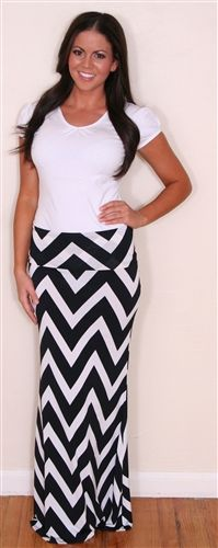 I so very much want this Black and White Chevron Maxi Skirt!