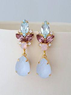 Blue pink earrings,Bridal earrings,Blue opal chandelier earrings,Wedding earrings,Bridal earrings,Vintage earrings,Swarovski ,Bridal jewelry by EldorTinaJewelry | http://etsy.me/2jZ5L0B