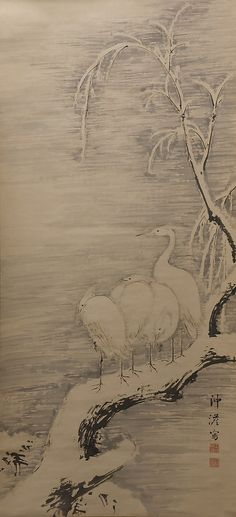 Herons in the Snow Nakabayashi Chikutô (Japanese, 1776–1853) Period: Edo period (1615–1868) Date: ca. 1840 Culture: Japan Medium: Hanging scroll; ink on paper Dimensions: 51 3/4 x 23 11/16 in. (131.5 x 60.2 cm) Classification: Painting